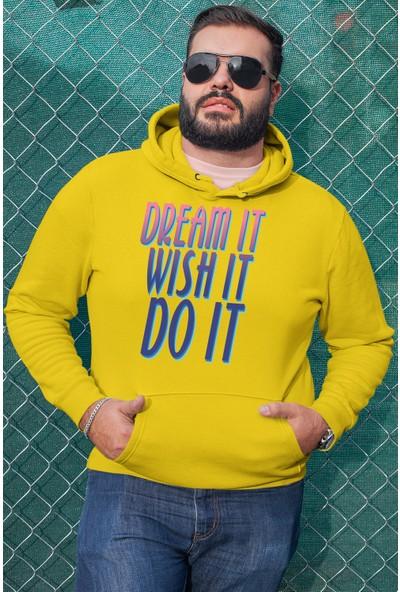 Angemiel Wear Dream İt Wish İt Do İt Sarı Erkek Kapüşonlu Sweatshirt