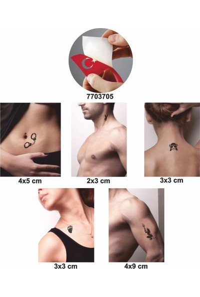 One Spray Tattoo Fantezi Modelleri Dark Sprey ve 5 Adet Geçici Dövme Deseni Seti