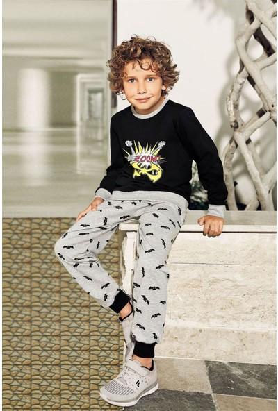 Pikidor Baskılı Pamuklu Erkek Çocuk Pijama Takımı - Siyah