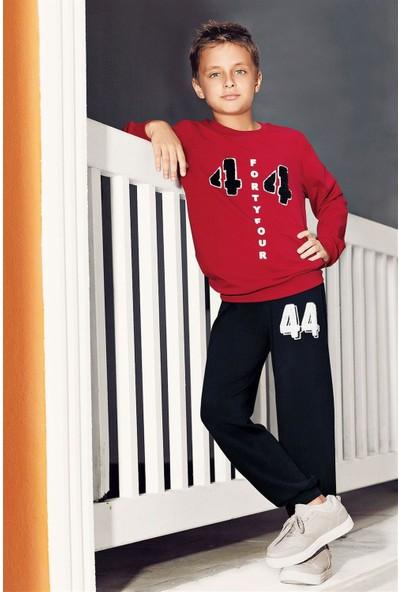 Pikidor Pamuklu Erkek Çocuk 44 Number Pijama Takımı - Bordo