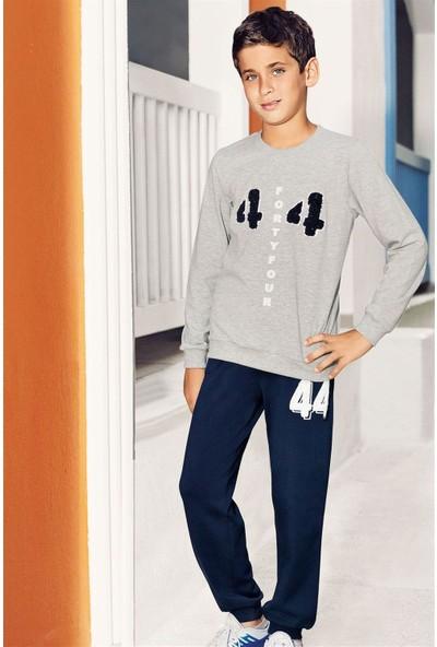 Pikidor Pamuklu Erkek Çocuk 44 Number Pijama Takımı - Gri Melanj