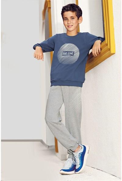 Pikidor Pamuklu Erkek Çocuk Awesome Pijama Takımı - Antrasit Melanj