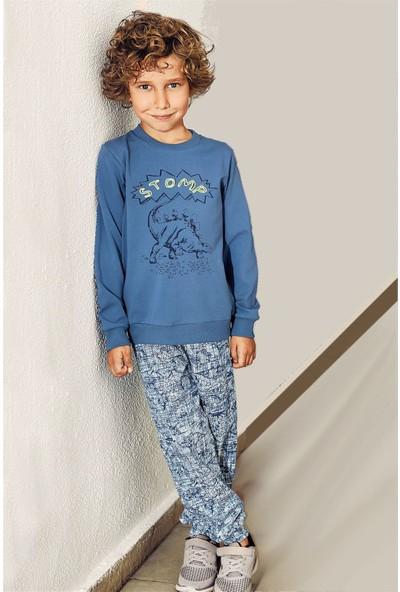 Pikidor Pamuklu Erkek Çocuk Baskılı Pijama Takımı - Indigo