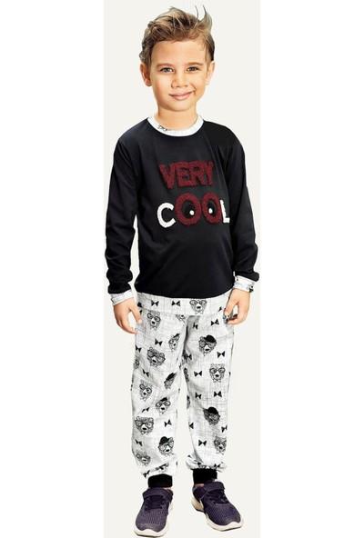 Pikidor Pamuklu Erkek Çocuk Honey Bear Pijama Takımı - Siyah