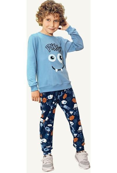 Pikidor Pamuklu Erkek Çocuk Pssst Canavar Pijama Takımı - Mavi