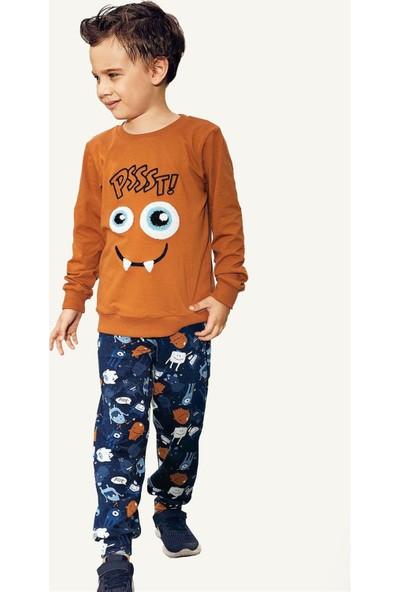 Pikidor Pamuklu Erkek Çocuk Pssst Canavar Pijama Takımı - Oranj