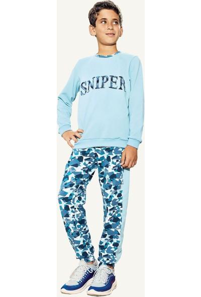 Pikidor Sniper Mavi Pamuklu Erkek Çocuk Pijama Takımı