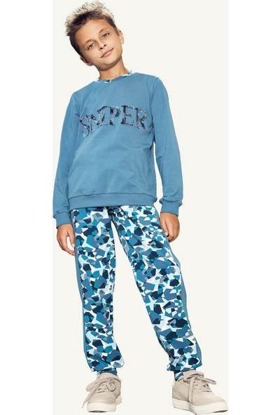 Pikidor Sniper Pamuklu Erkek Çocuk Pijama Takımı - Indigo