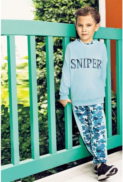 Pikidor Sniper Pamuklu Erkek Çocuk Pijama Takımı - Mavi