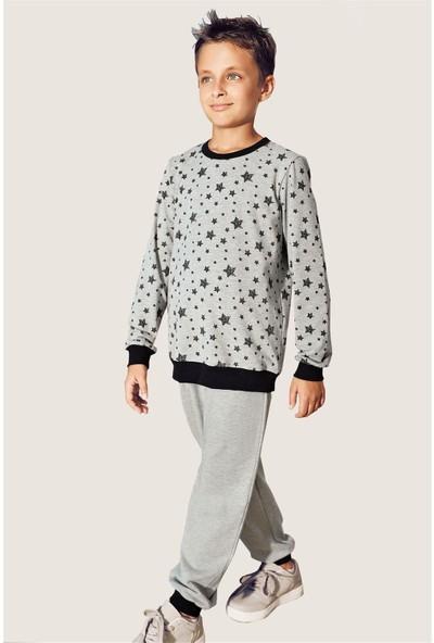 Pikidor Star Boys Gri Melanj Renkli Pamuklu Erkek Çocuk Pijama Takımı