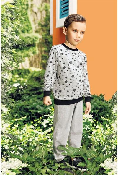 Pikidor Star Boys Pamuklu Erkek Çocuk Pijama Takımı - Gri Melanj