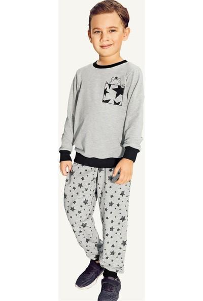 Pikidor Yıldızlı Pamuklu Erkek Çocuk Pijama Takımı - Gri Melanj