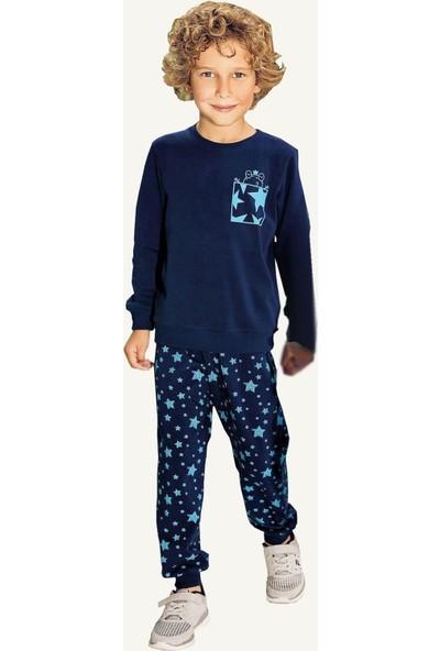 Pikidor Yıldızlı Pamuklu Erkek Çocuk Pijama Takımı - Lacivert