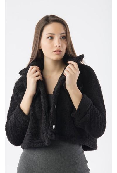 Yellowish Kadın Kısa Peluş Tüylü Ceket S