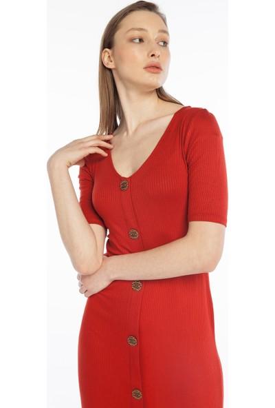 Yellowish Önü Düğmeli Kalem Elbise XL