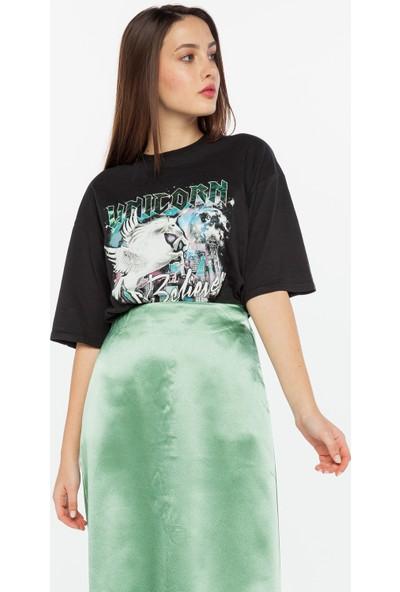 Yellowish Baskılı Oversize T-Shirt XS