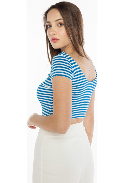 Yellowish Çizgili Crop T-Shirt Standart
