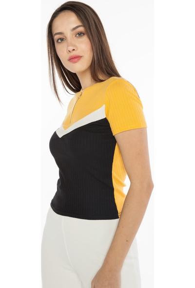 Yellowish Önü Fermuarlı Blok Renkli Kısa Kollu Body S