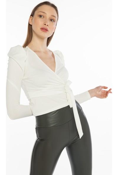 Yellowish Kadın Beli Kuşaklı Uzun Kollu Crop Bluz M
