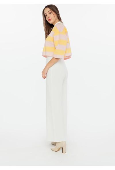 Yellowish Gömlek Yakalı Çizgili Crop Bluz XS