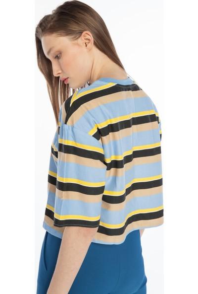 Yellowish Çizgili Crop Bluz M
