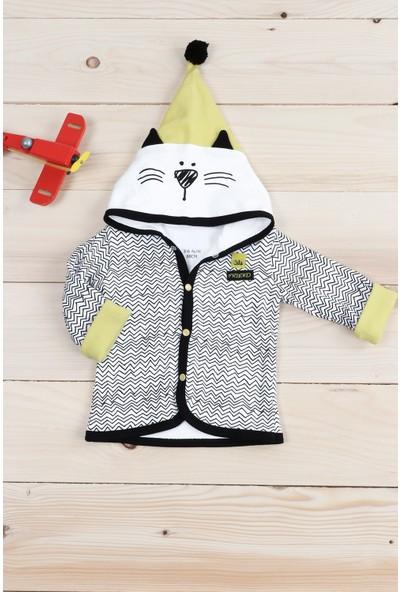 Petit Capitaine Erkek Bebek Kapşonlu Hırka Siyah Beyaz-0044478-009-68 cm