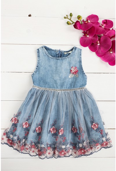 Petit Capitaine Kız Çocuk Kot Elbise Elbise Çiçekli-0054257-036-92 cm