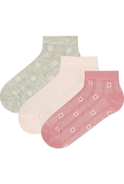 Penti Çok Renkli Kız Çocuk Flower Text 3lü Patik Çorap