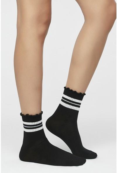 Penti Siyah Frill Cool Soket Çorap