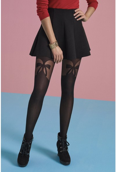 Penti Siyah Ribbon Külotlu Çorap
