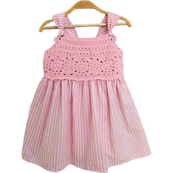 Pacco Baby El Örgüsü Pembe Çizgili Askılı Elbise