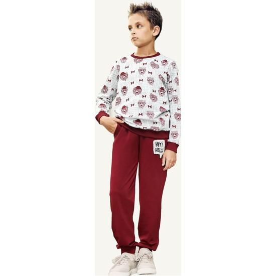 Pikidor Cool Bear Pamuklu Erkek Çocuk Pijama Takımı - Bordo