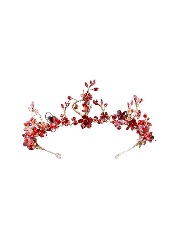 Atölye Pür Hayal Çiçek Desenli Kırmızı Gelin Tacı