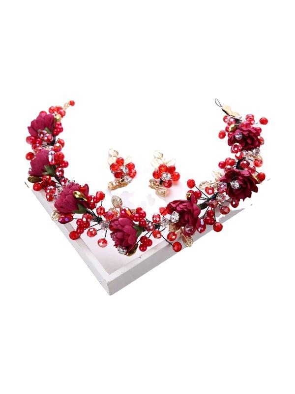Atölye Pür Hayal Kırmızı Çiçekli Gelin Tacı