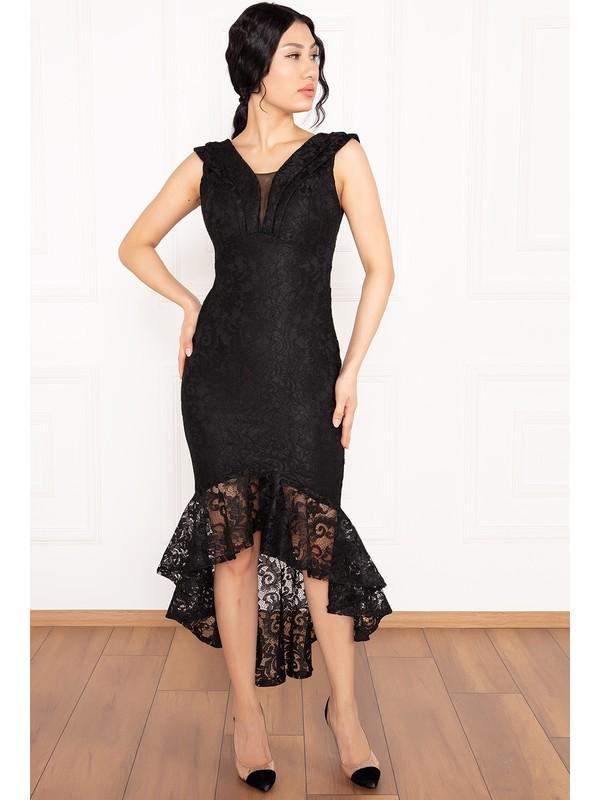 Kalopya Veyl 13259 Eteği Volanlı Dantel Elbise