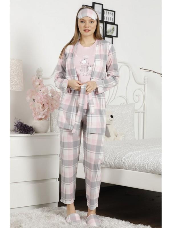 Bear Desenli Sabahlıklı Kadın Pijama Takımı