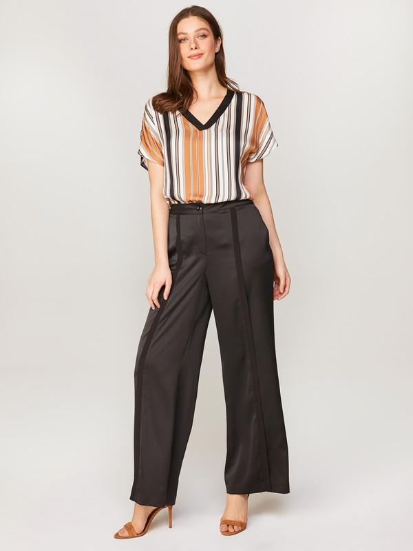 Faik Sönmez Kadın Şifon Şeritli Saten Bol Paça Pantolon 60547
