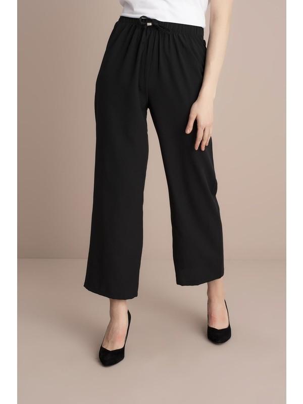 Tena Kadın Siyah Bel Lastikli Bol Paça Pantolon 0YBPNMM-013