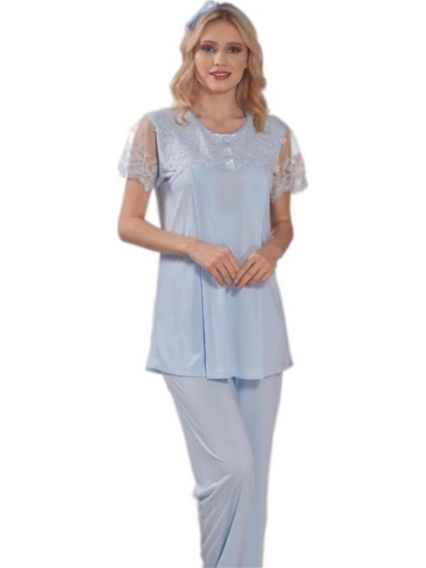 Emose 3970 Dantelli Kısa Kol Lohusa Pijama Takım
