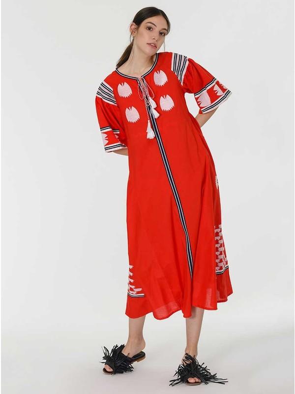 Roman Kadın Desenli Kırmızı Elbise-Y1966137-089