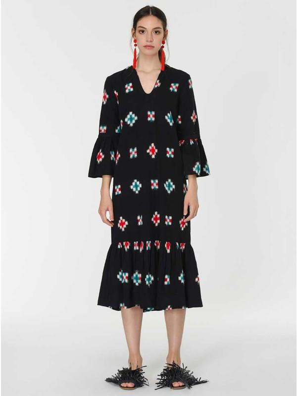 Roman Kadın Desenli Siyah Elbise-Y1964115-089