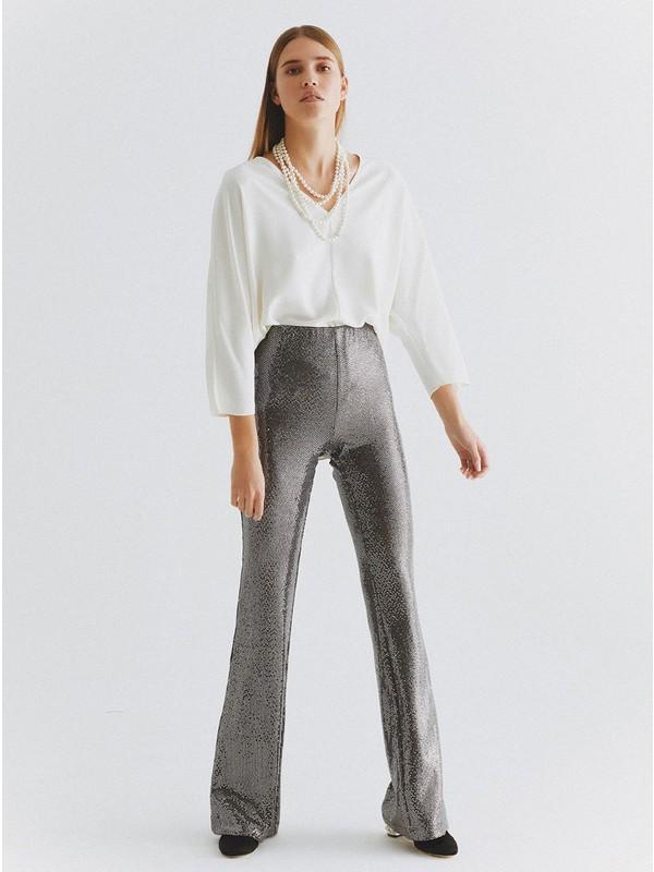 Roman Kadın Payetli Gümüş Pantolon-K2012059-078