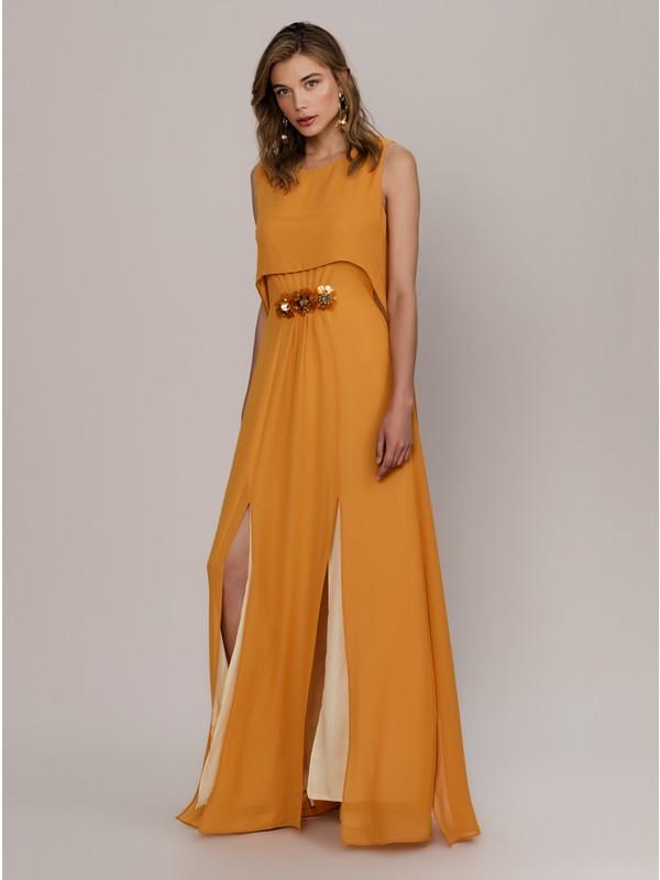 Roman Kadın Yırtmaçlı Hardal Elbise-K1911357-026