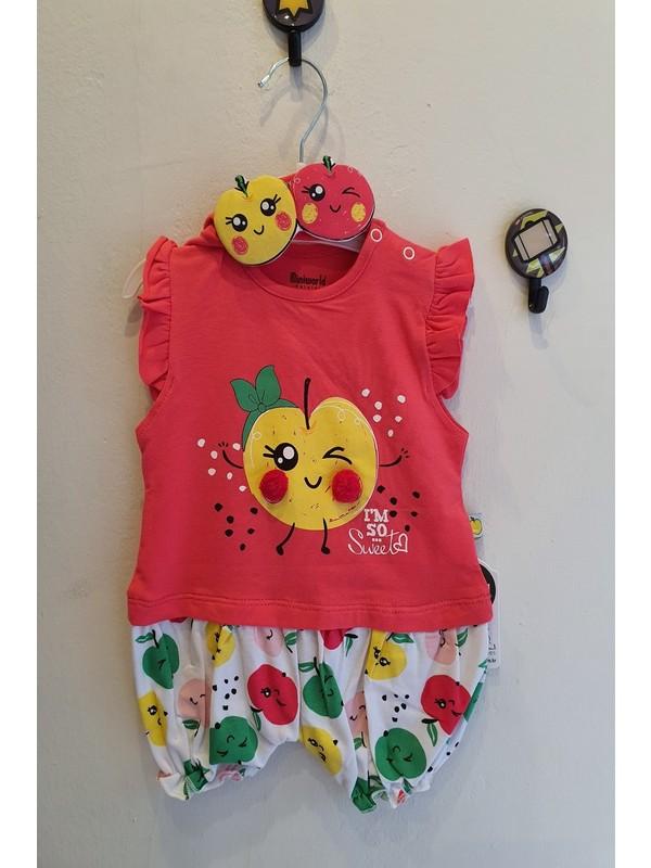 Minidoll Kız Bebek 0 - 12 Ay Elmalı Bandanalı Tulum