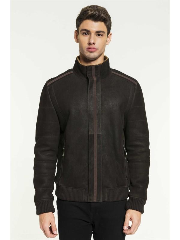 Black Noble Cameron Erkek Spor Kahverengi Kürklü Deri Ceket