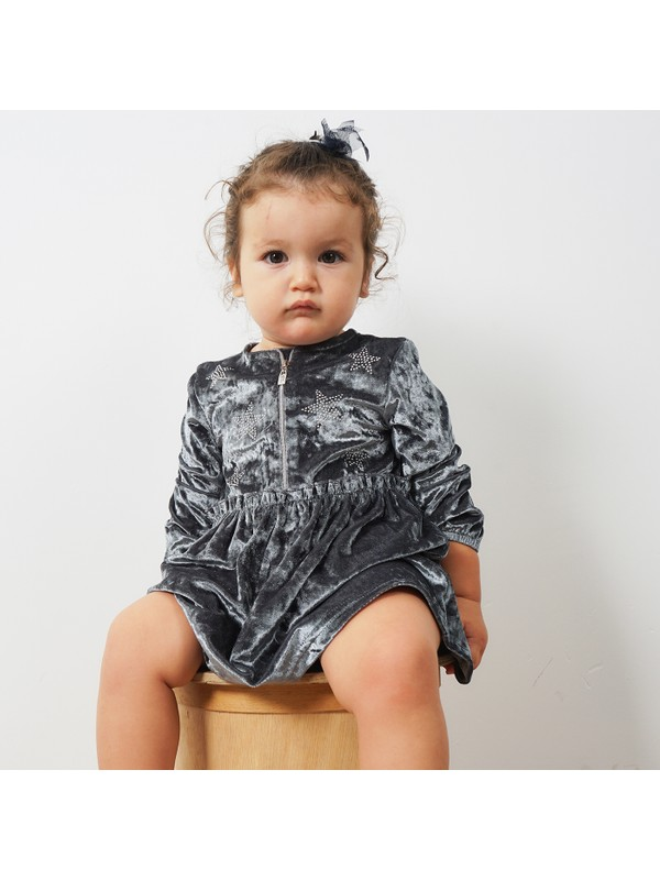 Panço Kız Çocuk Kadife Elbise 19226253100