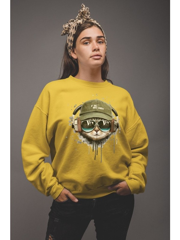 Angemiel Wear Cool Cat Havalı Kedi Kadın Sweatshirt