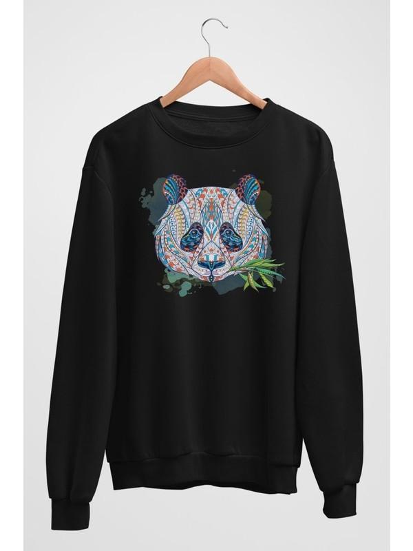 Angemiel Wear Etnik Desenli Mavi Tonlarda Panda Kadın Sweatshirt