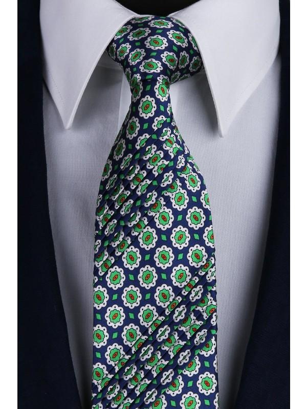 Kravatkolik Lacivert - Yeşil Motif Desen Piliseli İpek Kravat EST104