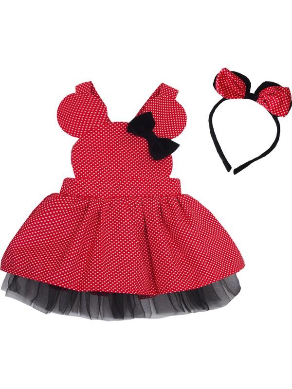 Shecco Babba Kız Çocuk Elbise Kırmızı Puantiyeli - Tütü Elbise Taç Takım 1-4 Yaş